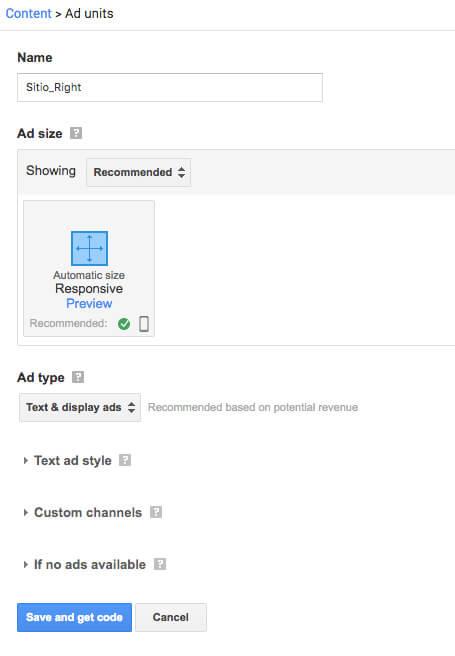 Configurar un anuncio en Google AdSense