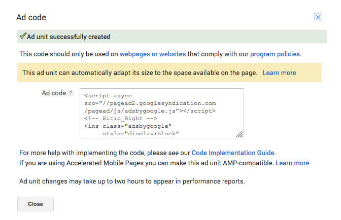 Obtener el código o script del AdUnit de AdSense