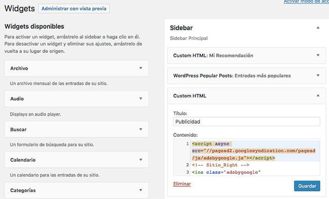 Colocar el código de AdSense en WordPress