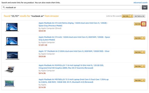 Obtener link de afiliados de Amazon Afiliados