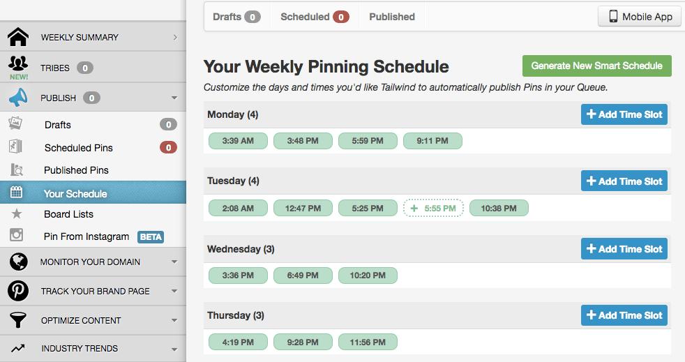 Programación de pines en Tailwind para Pinterest